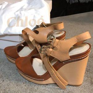 7379455742d NWT Chloe Platform Sandals- Leather 40.5 (10.5 US)
